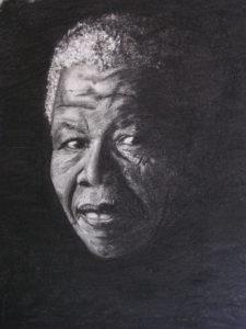 un portrait de Nelson Mandela au fusain