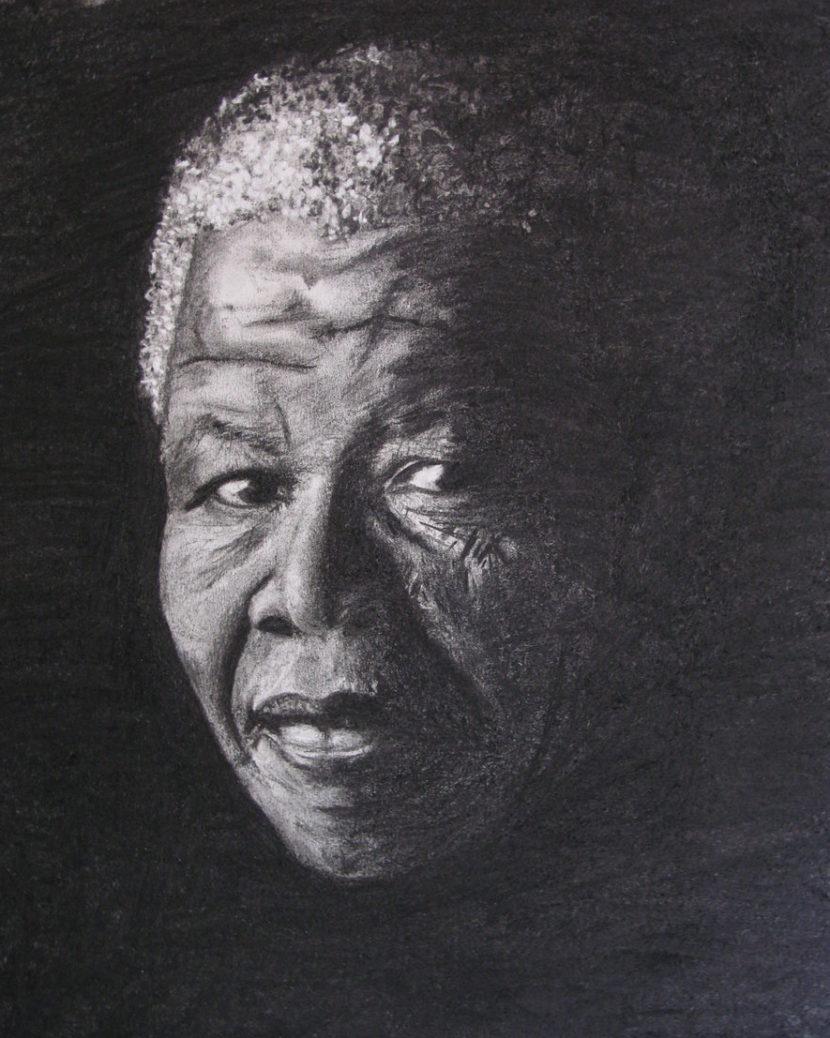 Dessin portrait de Nelson Mandela au fusain